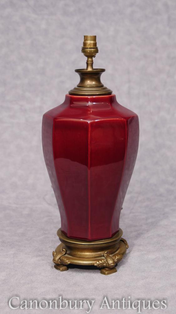 Empire Sang-De-Boeuf Lampe de table en porcelaine
