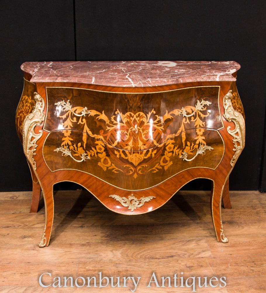 French Empire Bombe Tiroirs Commode Marquetry Inlay