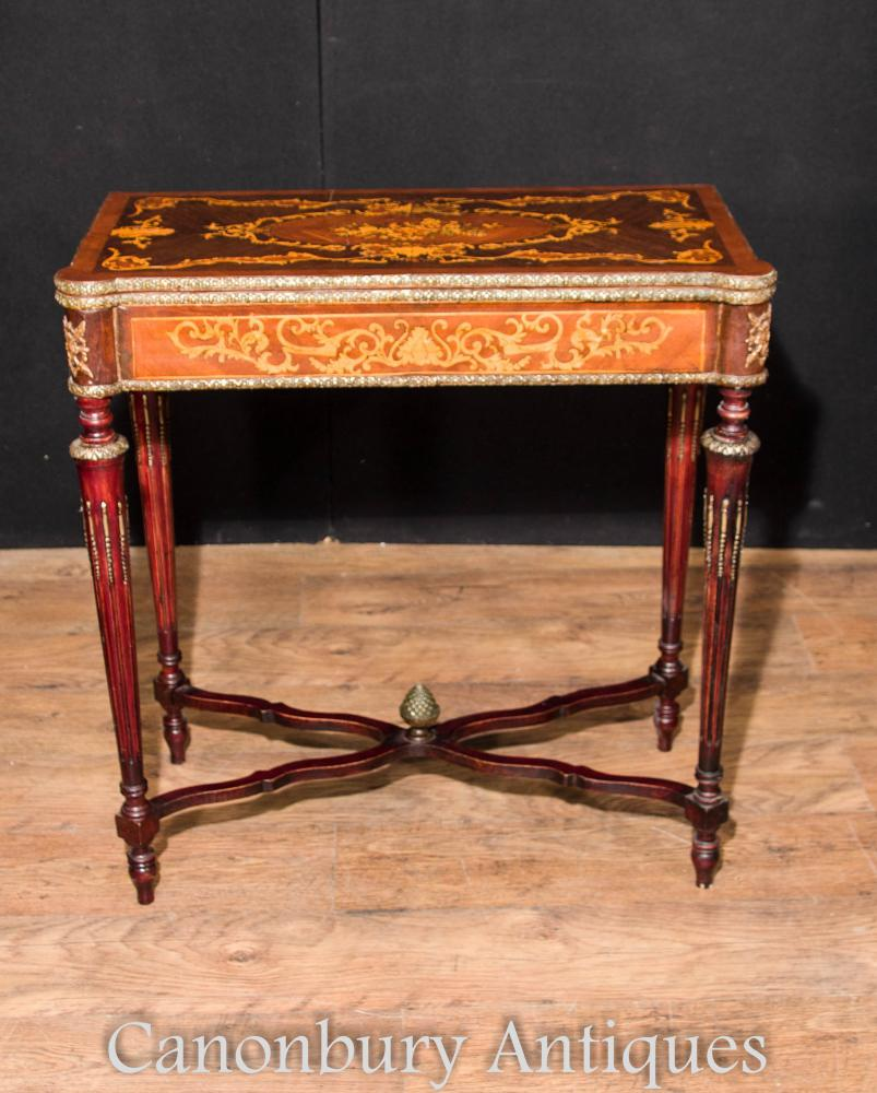 French Empire Jeux de cartes Table Marquetry Inlay Console