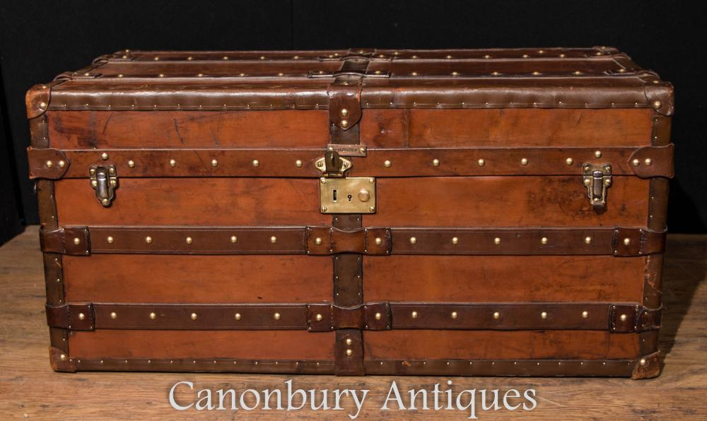 Grand Antiquaire en cuir anglais Trunk Mallette Bag Steamer Trunk Table Cheney