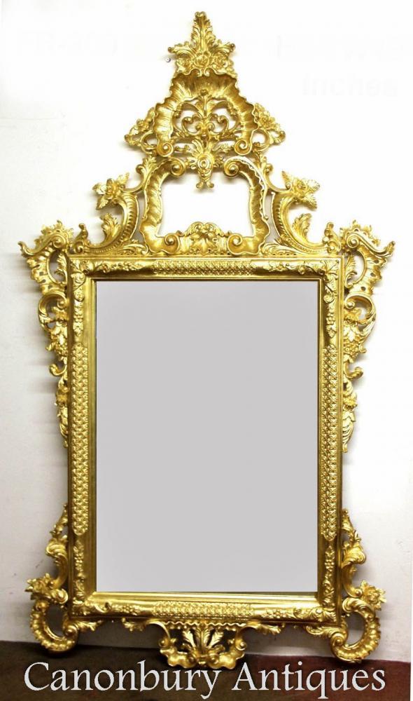 Grand George II doré Pier miroir sculpté des miroirs en verre cadre