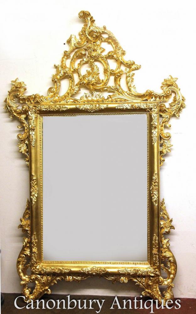 Grand italien Pier doré miroir sculpté les miroirs en verre à la main