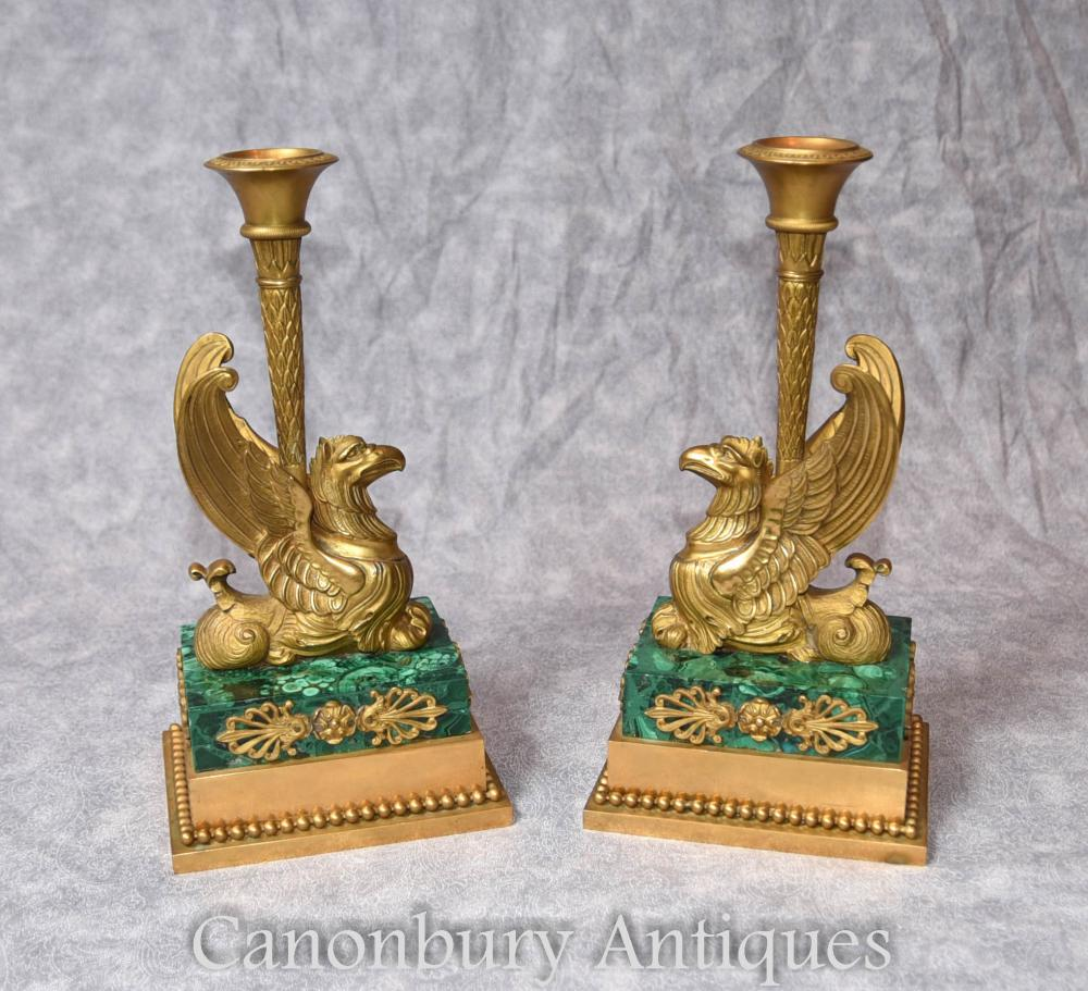 Paire Antique Empire Français Bronze Griffin Chandeliers Malachite 1810 Ormolu Candelabres