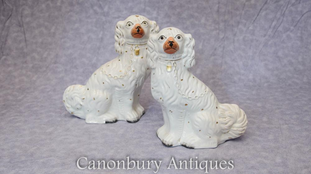 Paire Antique Staffordshire Porcelaine King Charles Spaniel Statues 1910
