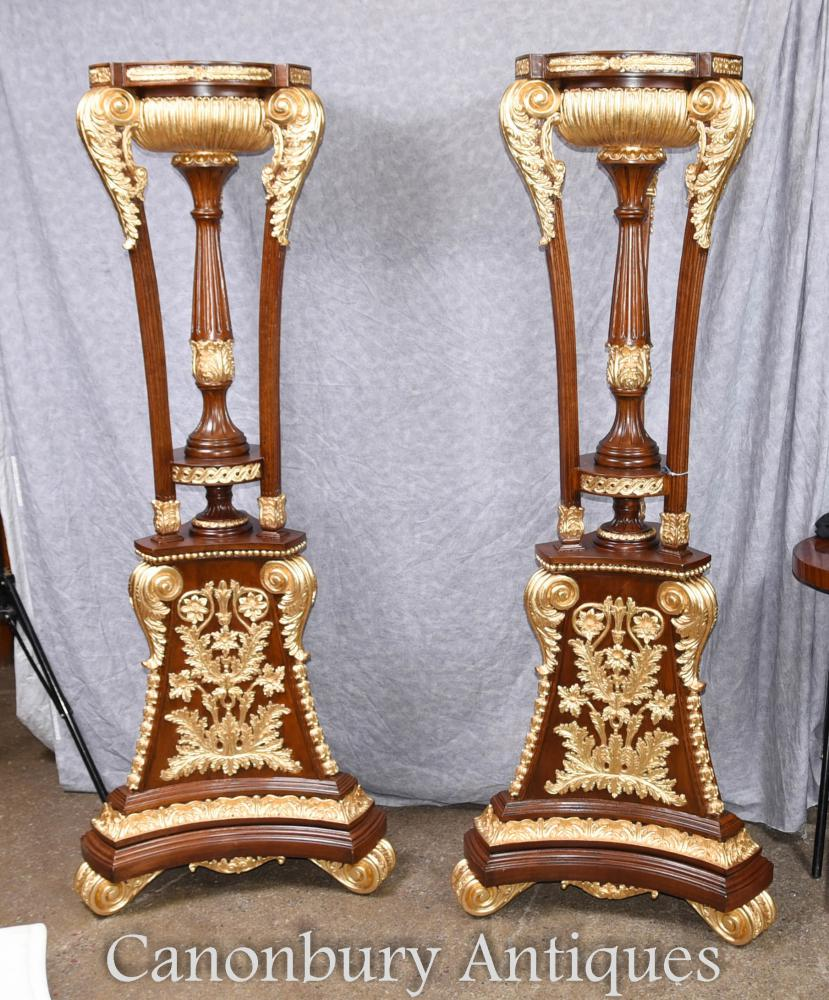 Paire Haute Empire Française Gilt Tocheres Planter Stands