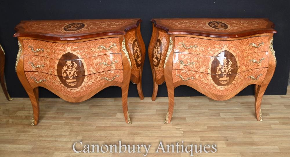 Paire Louis XVI Bombe Commodes commodes marqueterie