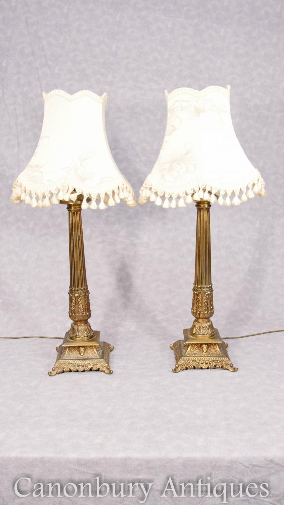 Paire Ormolu Corinthian Column Lamp Bases Lampes de table
