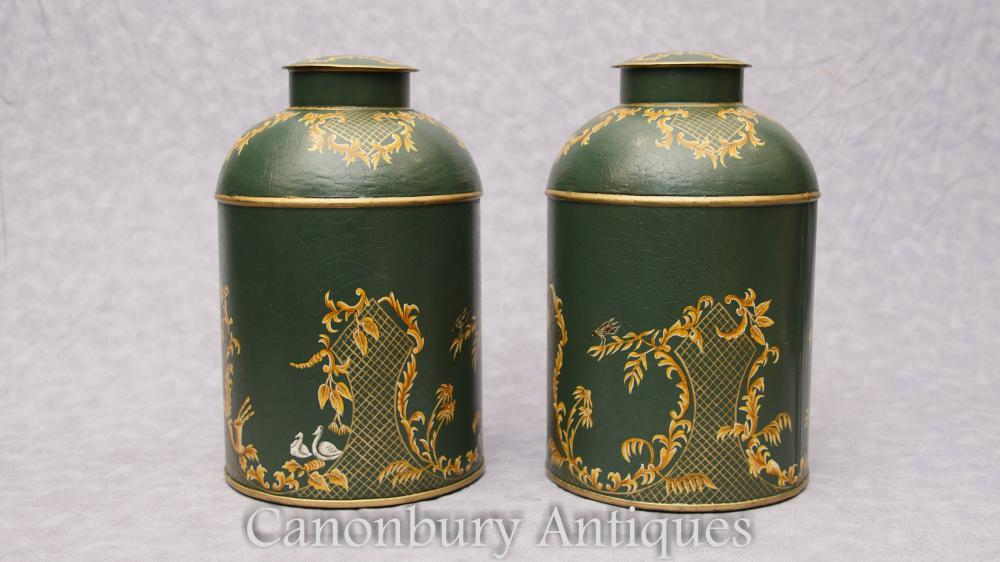 Paire Regency Metal Toleware Boîtes à thé Lidded Pots