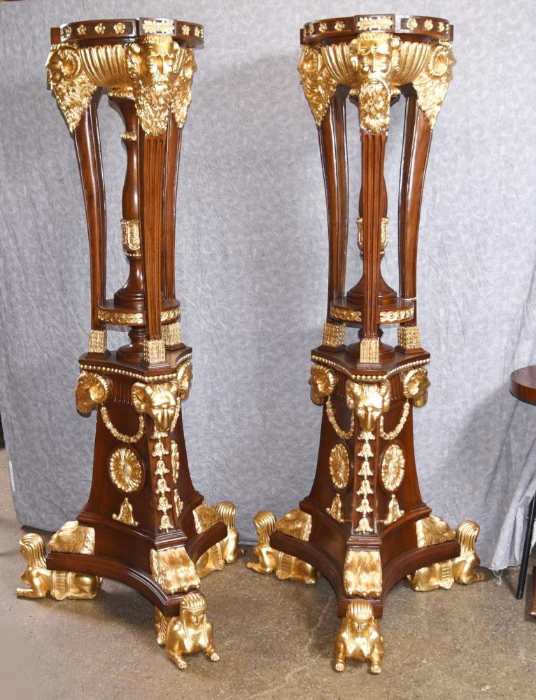 Paire XL French Gilt Torcheres Stands Jardiniere Carved Planters