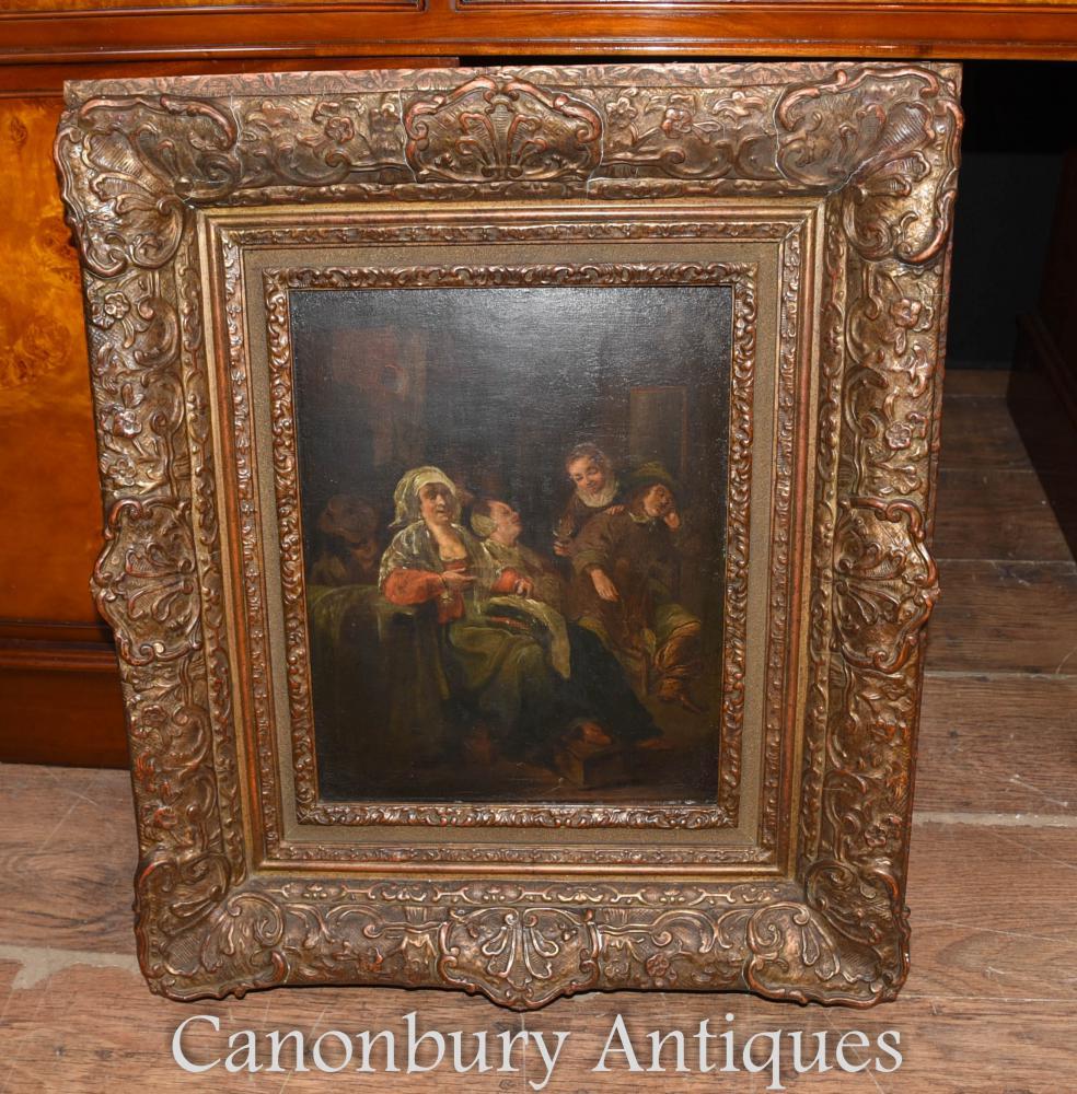 Peinture à l'huile hollandaise antique du 19ème siècle Portrait de famille 1880