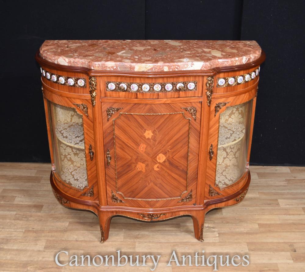 Plaques de porcelaine antique Kingwood bahut armoire Français Inlay 1930
