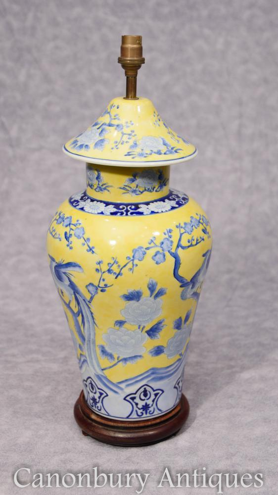 Single Chinese Famille Jaune Porcelain Lamp Base Light Shade
