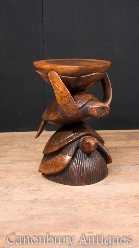 Tablette latérale de tortue de mer sculptée à la main française