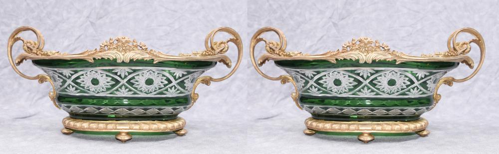 Paire Louis XV Couper Verre Ormolu Tureens Vases Plats À Bol