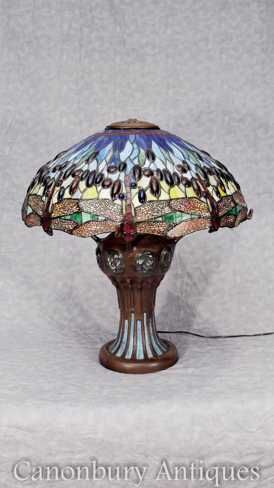 Art Nouveau Bronze Tiffany Lampe Dragonfly Colored Glass Shade