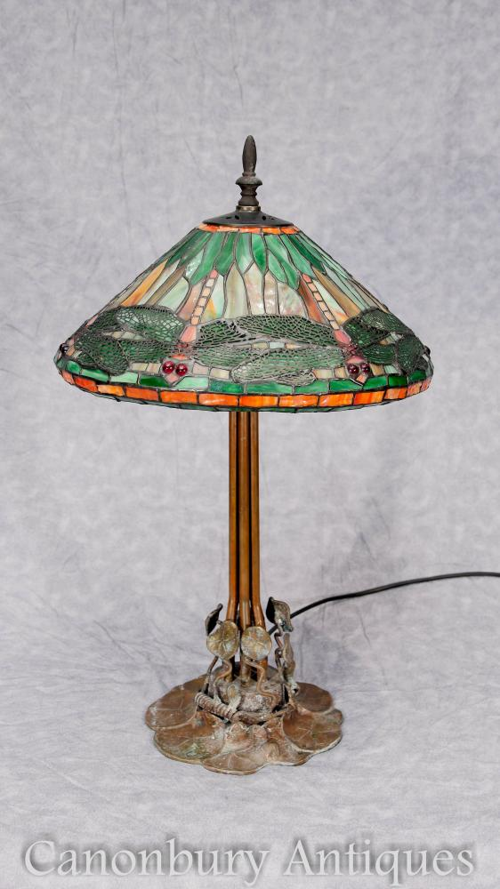 Art Nouveau Bronze Tiffany Lampe de table Dragonfly Shade