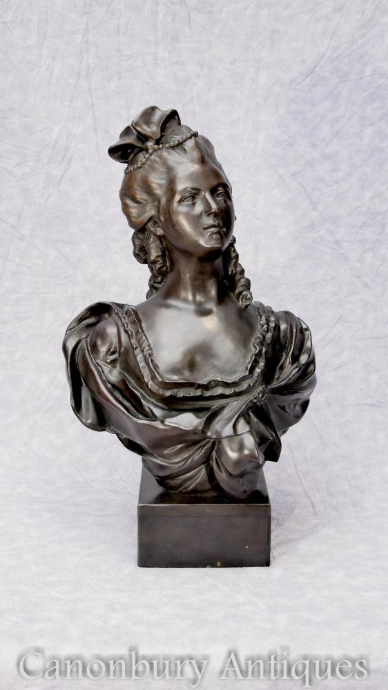 French Bronze Buste Marie Antoinette Casting Statue Reine de France