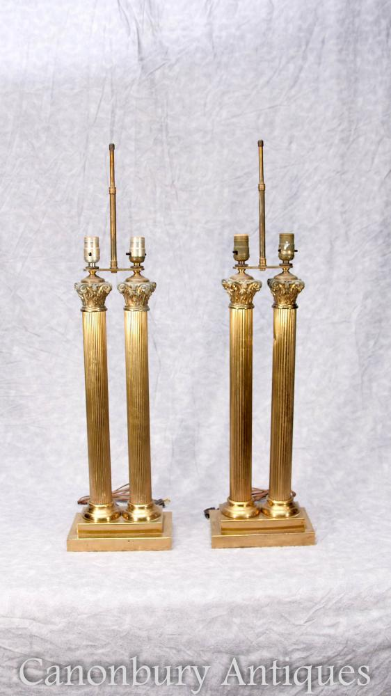 Paire Antique Gilt Regency Table Lamps Lights Colonnes Corinthiennes