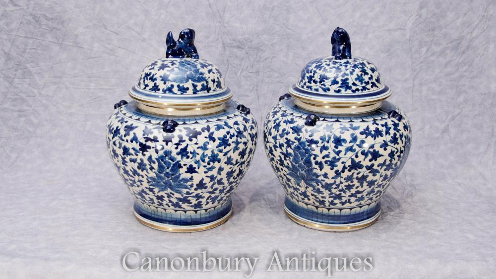 Paire de porcelaine bleue et blanche chinoise Outil de pots Pots Vases Kangxi