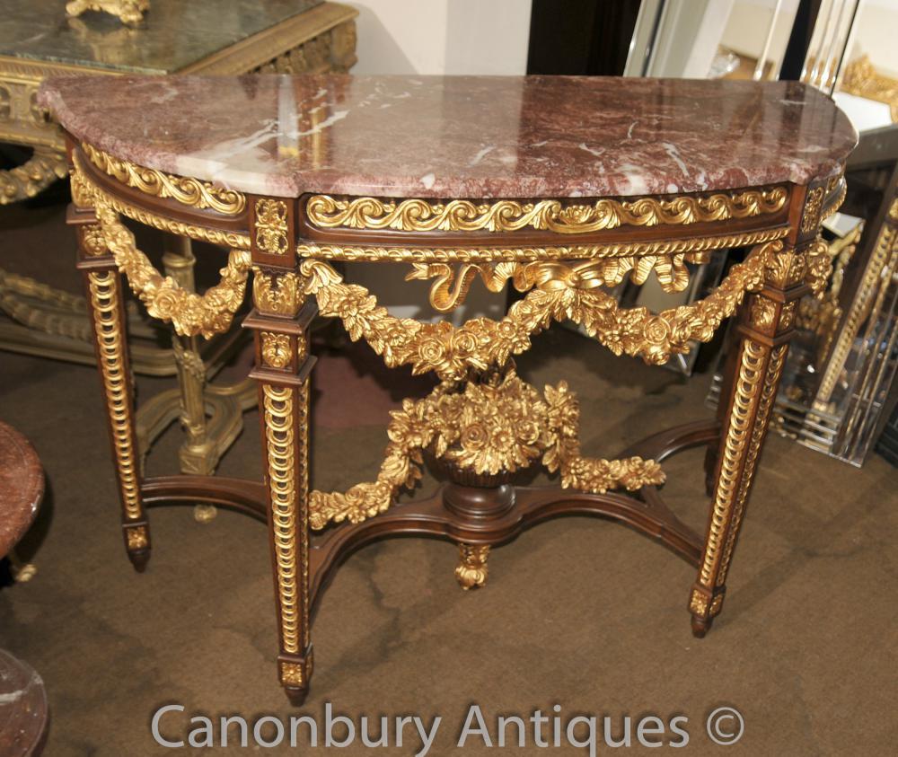 Table de console française Louis XVI Gilt Demi Lune en marbre