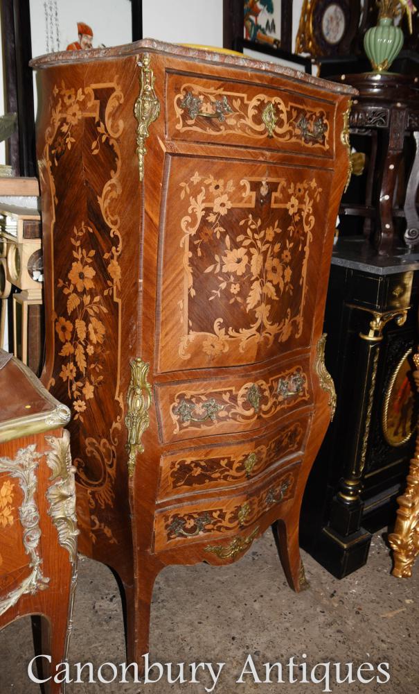 Antique Louis XVI Secretaire Cabinet de bureau français Marquetry Inlay Escritoire