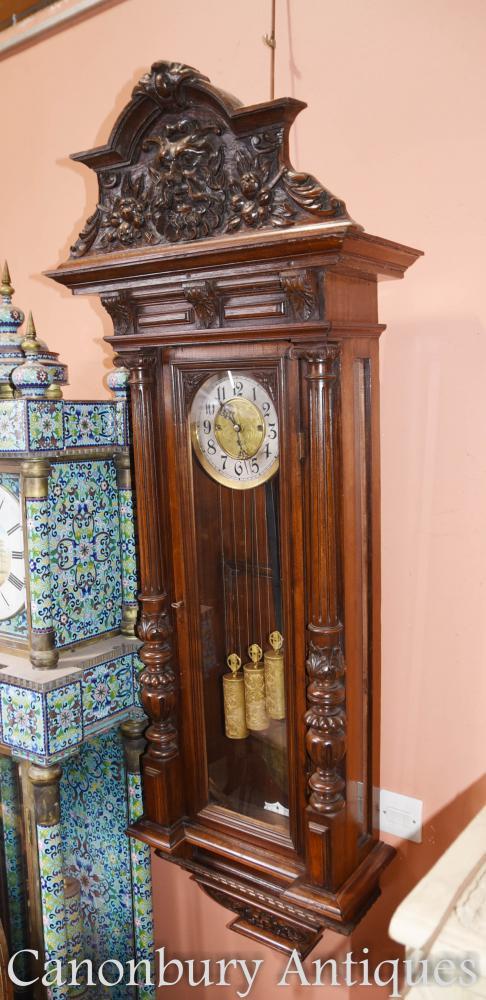 Antique Mahogany Vienna Régulateur Horloge murale à la main vénitienne