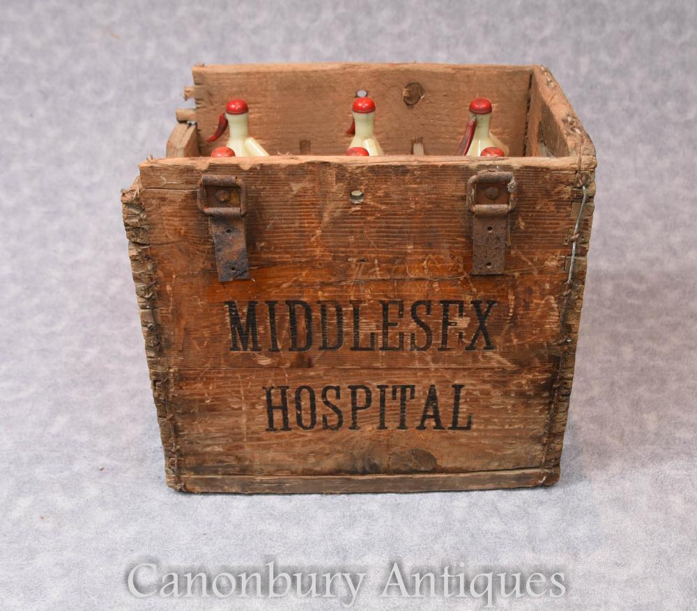 Antique Vintage Middlesex Bouteille en verre pour hôpitaux Soda Stream Set Boîte en bois