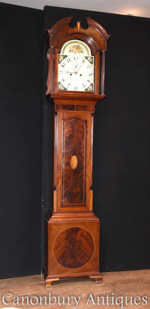 Antique géorgien horloge de temps en acajou