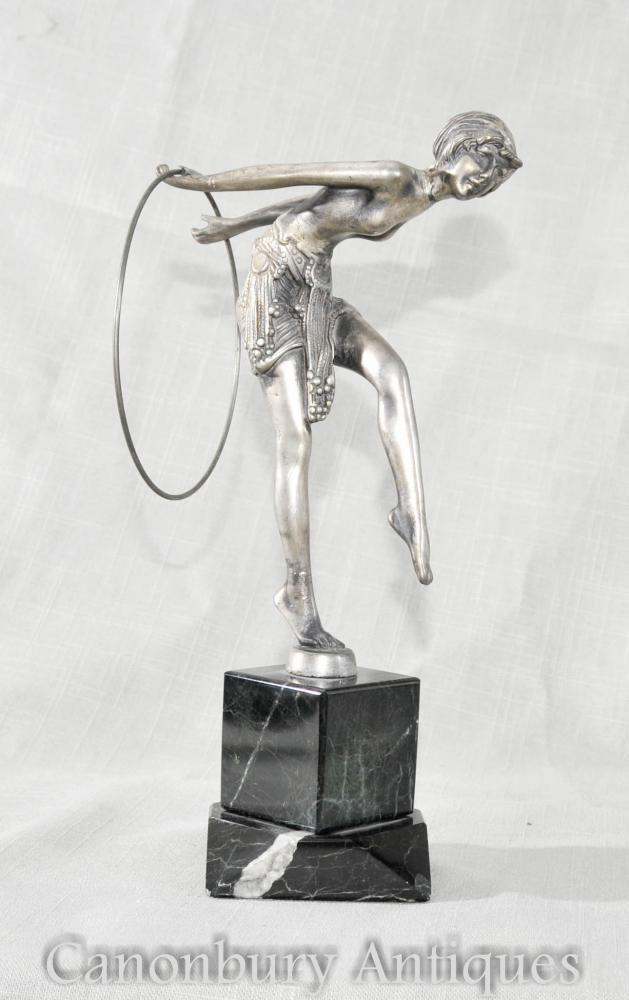 Art Deco Figurine de danseur en étain de Ferdinand Preiss