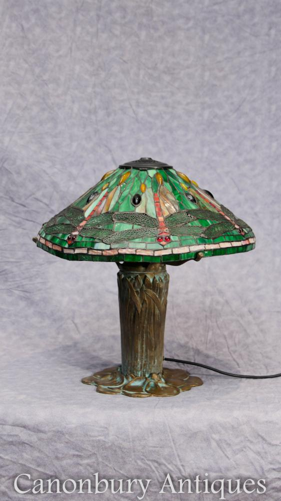 Art Nouveau Bronze Tiffany Table à lampe Light Dragonfly Shade