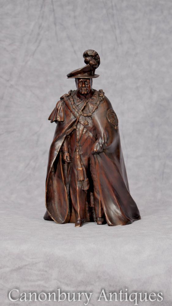 Bronze anglès Casting Winston Churchill a Garter Robes Primer ministre britànic