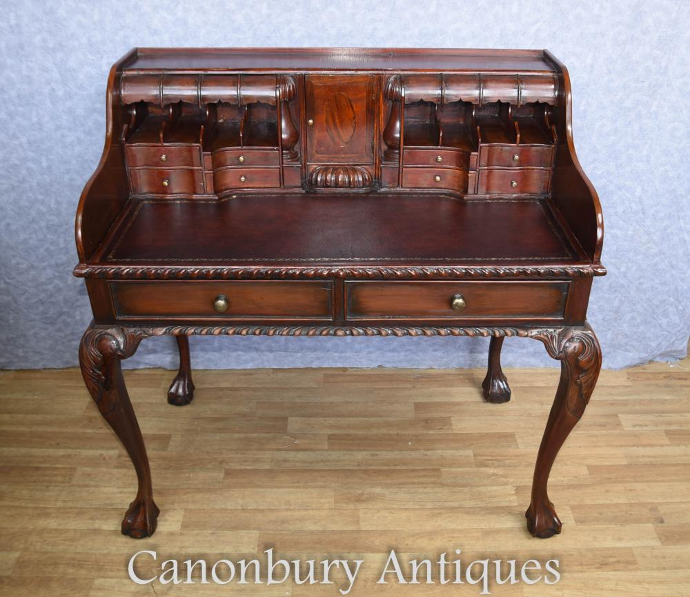 Bureau Chippendale en Mahogany Table d'écriture Escritoire English Furniture
