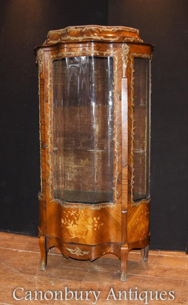 Français Empire antique étalage vitrine bijouterie Kingwood marqueterie