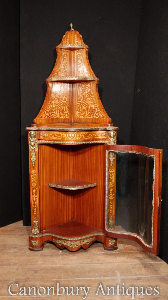 French Empire Corner Show Cabinet Bijouterie Marquetry Inlay