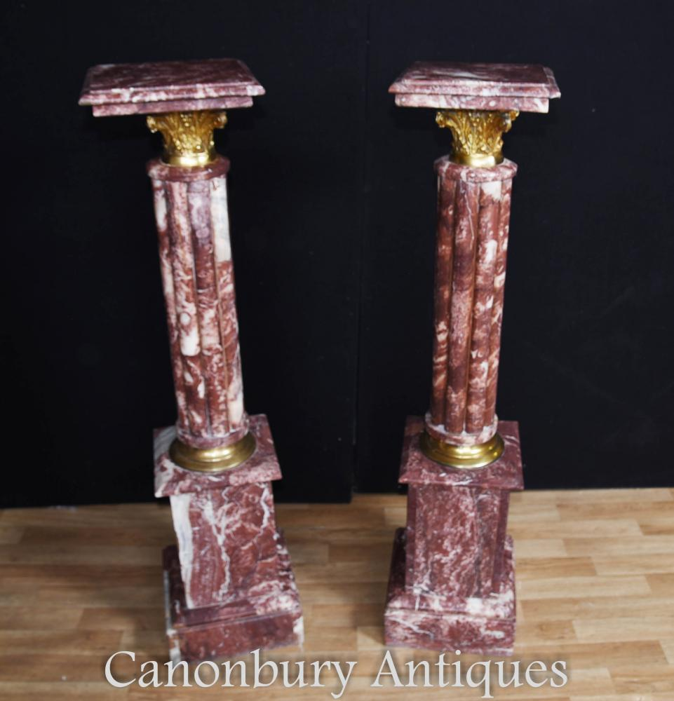 French Empire Marble Pedestal Stand Tables Colonnes cannelées