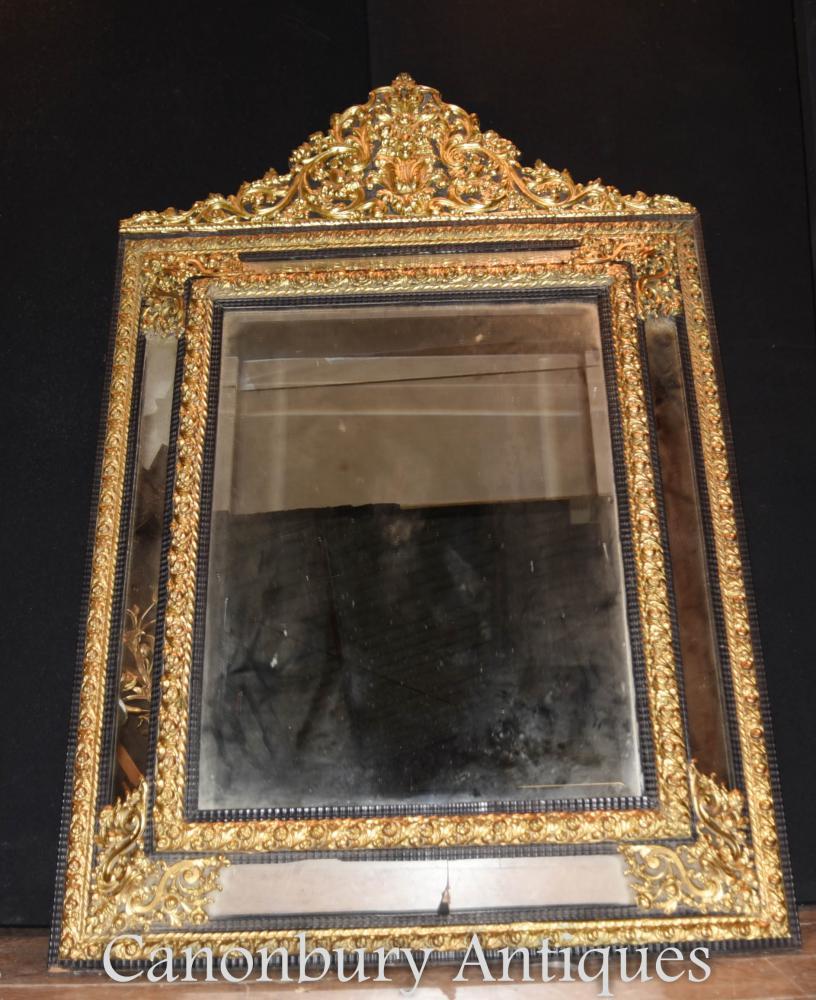 Miroir à coussin rococo français ancien Miroir à glissière 1880