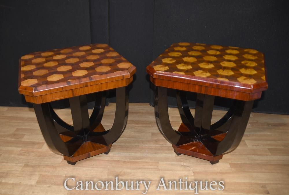 Pair Art Déco Side Tables Hexagonal Inlay