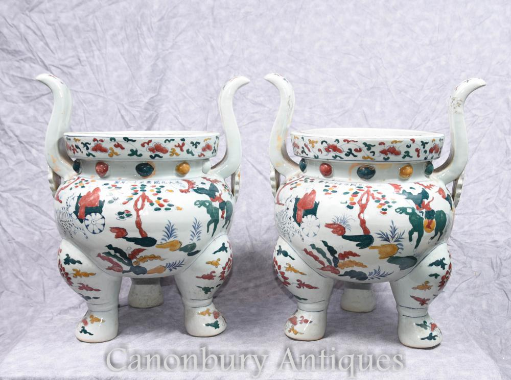 Pair Chinese Qianlong Porcelain Temple Jar Planters Incense Burners