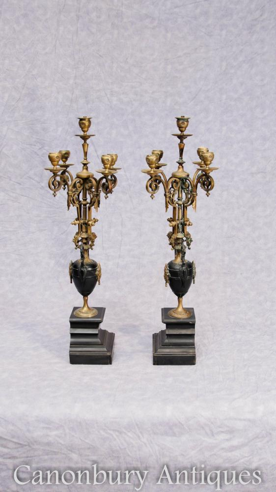 Paire Antique Empire Ormolu Candelabras Marbre Malachite Gilt Candles