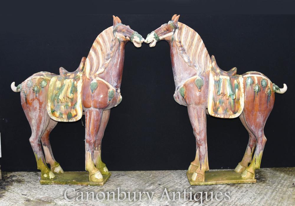 Paire Grande Porcelaine chinoise Tang Chevaux Poney Céramique Chine Cheval