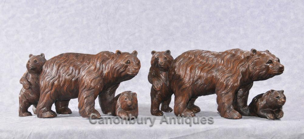 Paire Hand Carved Black Forest Bear Cub Statues familiales Brown Bears
