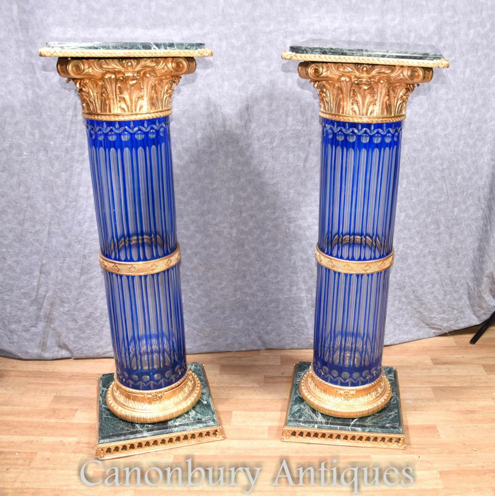 Paire d'Empire coupe en verre corinthien colonne colonnes tables