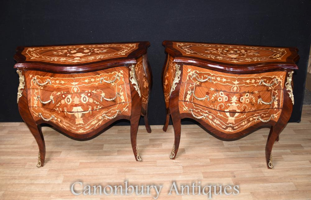 Paire de coffrets Louis XVI Bombe Commodes Inlay Suitides Nightstands