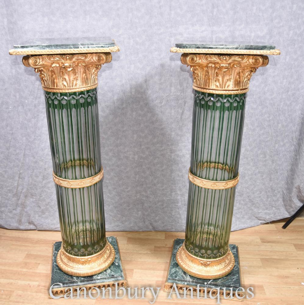 Paire de sommiers en colonne de corinthiens Louis XV en cristal de paire