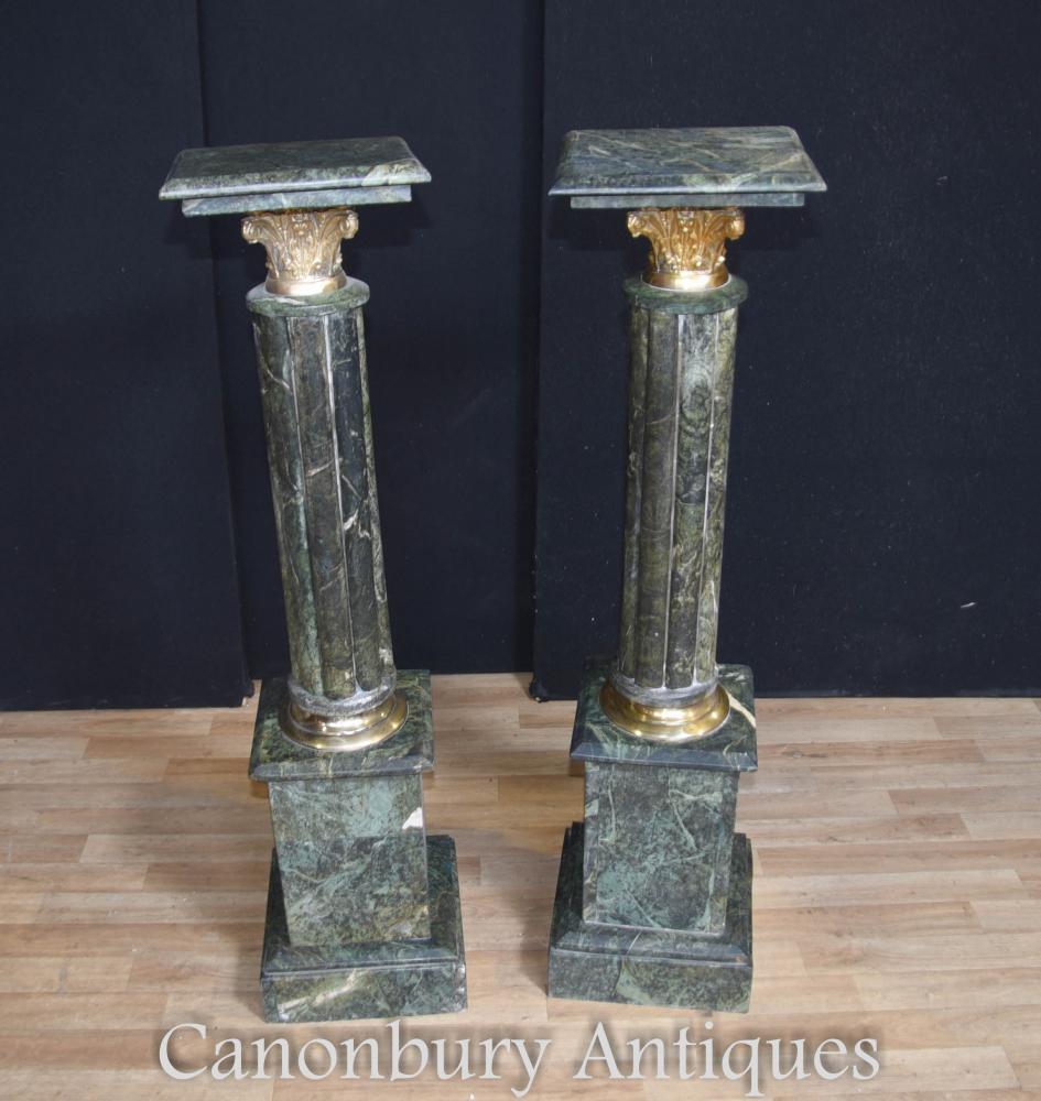 Paire de sommiers en pierre de marbre vert