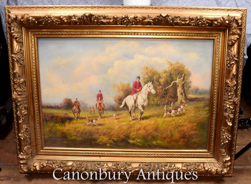 Peinture à l'huile signée en anglais Scène de chasse Fox The Hunt G Roy