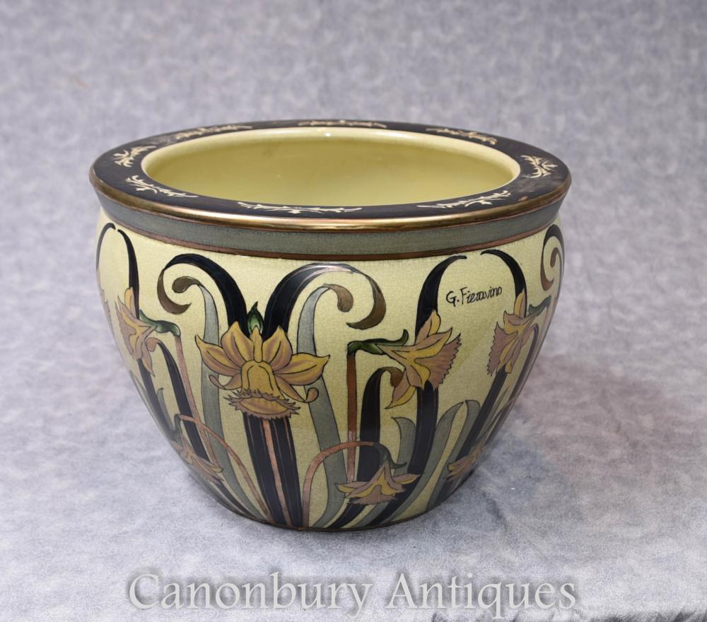 Planteur de porcelaine italienne à motif Art Nouveau Fieravino