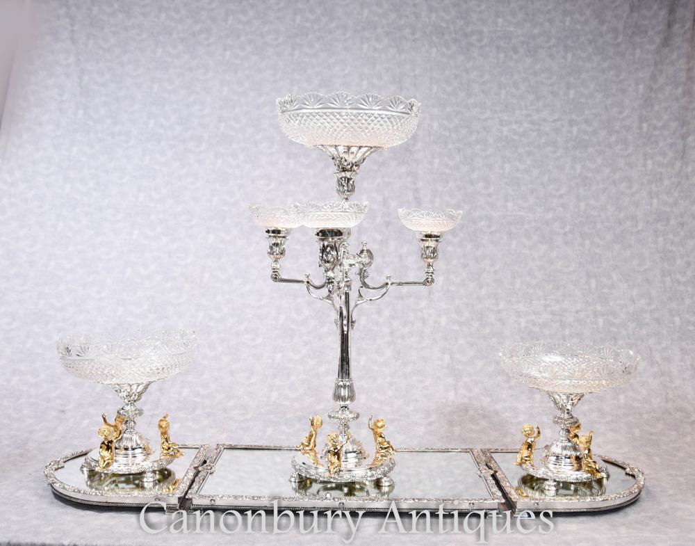 Plat en argent anglais Boulton Pièce centrale Epergne Bac en verre Cherub Dish