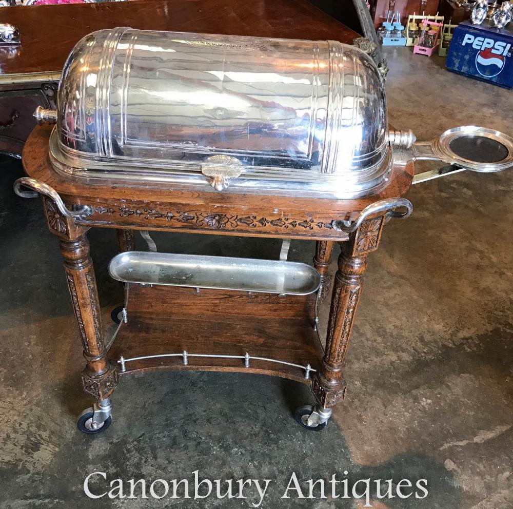 Plate-forme d'argent antique Antique Christofle Beef Trolley Server Hotel Carvery