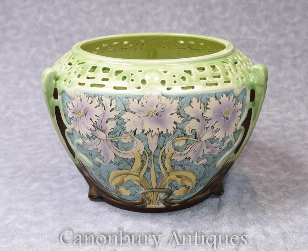 Single Art Nouveau Porcelain Floral Planter Ceramic China Pot